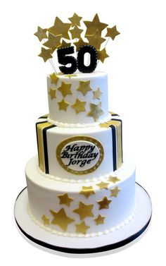 Jorges 50th Birthday Cake This birthday cake is a stylish creation in tones of white and gold! We made it for Jorge's 50th birthday for an event that was held at the Rutgers Community Center at 200 Madison Street, new York. The event catered for 74 people and was a blast! We made a three tier cake and placed it onto a snow white base with a contrasting black ribbon around .... http://cmnycakes.com/gallery2/v/Cakes+For+All+Occasions/Jorges+50th+Birthday+Cake.html?