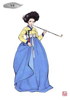 특수계층의 의상 - 기생 Korean Hanbok, Korean Dress, Korean Outfits, Korean Traditional Clothes, Traditional Dresses, Korean Illustration, Korean Accessories, Korean Painting, Korean Art