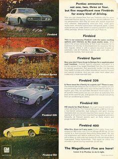1967 Pontiac Firebirds - Firebird Base, Firebird Sprint, Firebird 326, Firebird HO, and Firebird 400 - available in Convertible or Hardtop Coupe body styles