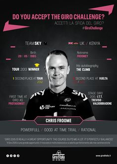 Giro d'Italia @giroditalia #GiroChallenge This could be the first time as protagonist... Will Chris Froome accept the Giro challenge? pic.twitter.com/tMAOeEIacN Chris Froome, Pro Cycling, Grand Tour, World Championship, First Time, Challenges, Tours, Twitter, Photos