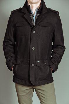 Buffalo David Bitton Wool Single Breasted Jacket with Bib Collar in Knit Black