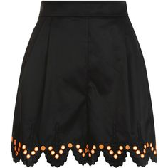 Temperley London Hika Shorts (750 CAD) ❤ liked on Polyvore featuring shorts, black mix, embroidered shorts, tailored shorts, scalloped shorts, pleated shorts and high-waisted shorts