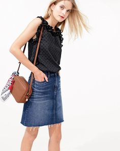 J.Crew women's ruffle top in clip dot, denim skirt with raw hem, Signet bag and bandana in berry print.