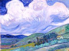 Landscape from Saint-Rémy, 1889 - Vincent van Gogh - Vincent Van Gogh, Artist Van Gogh, Van Gogh Art, Art Van, Van Gogh Pinturas, Van Gogh Landscapes, Van Gogh Paintings, Post Impressionism, Rembrandt