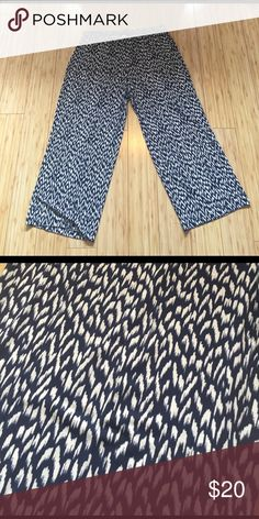 NWOT Navy and White Patterned Pants Never worn fun, comfy pants. Perfect for work. Patterned. Navy and white. Polyester and spandex material. Feel free to make an offer! AGB Pants
