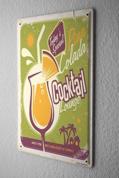 Tin Sign Nostalgic Alcohol Retro Pina colada