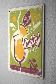 Tin Sign Nostalgic Alcohol Retro Pina colada