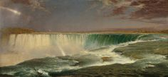 The Hudson River School of landscape painters documented America's natural beauty. I love this painting's rainbow created by the waterfall. Credit: Frederic Edwin Church, Niagara Falls, Corcoran Gallery of Art, Washington, DC. Connecticut, National Gallery Of Art, Art Gallery, Landscape Art, Landscape Paintings, Landscape Wallpaper, Acrylic Paintings, Art Paintings, Frederic Church