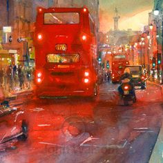 John Walsom. Strand, Westbound. Original Painting in watercolour, and Limited Edition Prints.