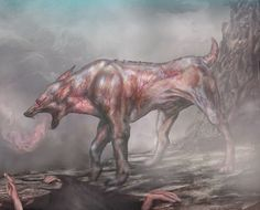 Garm or Garmr- Norse myth: it was a blood drenched hound that guarded the entrance of Hel.