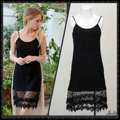 Simply Gorgeous Black Lace Extender Style must have ~ Black Lace Tunic/Dress Extender. Size: XS/S. Adjustable straps. PLEASE DO NOT PURCHASE this listing but comment & I'll create separate listing. Price FIRM unless bundled. ❌NO PP AND NO TRADES❌ Cloud 9 Dresses