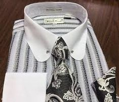 MEN'S KARL KNOX French Cuff White/Blk Dress Shirt Tie Hanky Set Round Collar Bar - $45.00 | PicClick Dress Shirt And Tie, French Cuff Dress Shirts, Round Collar Shirt, Bar Set, Grey Stripes, Rihanna, Black And Grey, Mens Tops, Fashion