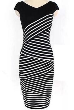 Black V Neck Striped Pencil Dress 12.00