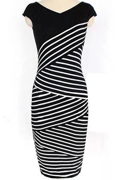 Black V Neck Striped Pencil Dress 12.00