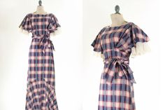30s Red Blue Plaid Dress XS by snootieseconds on Etsy, $424.00