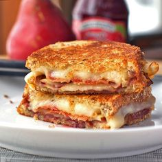 Bacon, pear and raspberry grilled cheese.