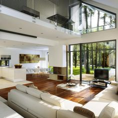 Tips and luxury features of modern home interior and exterior design Dream Home Design, Modern House Design, Home Interior Design, Interior Modern, Interior Ideas, Glass House Design, Minimalist House Design, Loft Design, Design Case