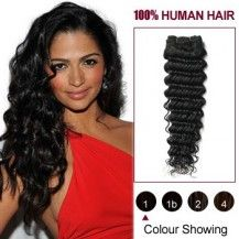 "24"" Jet Black(#1) Deep Wave Indian Remy Hair Wefts 629"