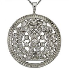 Filigree Milgrain Diamond Pendant With 0.14ct Princess Center And 0.96cts Fine With Diamonds In PLATINUM | Sparkly Things Jewelry
