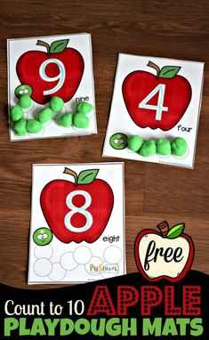 FREE Apple Count to 10 Playdough Mats – super cute toddler, preschool, kindergarten math activity for counting, tracing numbers in september - Education and lifestyle Preschool Apple Theme, Fall Preschool, Preschool Classroom, Preschool Crafts, Toddler Preschool, Preschool Apples, Preschool Alphabet, Alphabet Crafts, Alphabet Letters