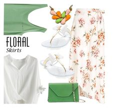 """""""Floral Skirt"""" by tinayar ❤ liked on Polyvore featuring New Look, Chicwish, Valextra and Floralskirts"""