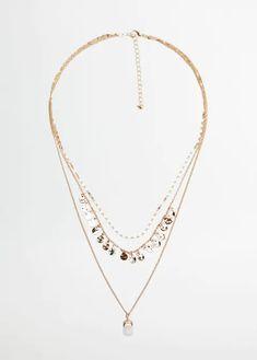 Stone waterfall necklace - Woman | Mango South Africa Jewelry Box, Jewelry Necklaces, Gold Necklace, Pendant Necklace, Jewellery, Mango, Amelie, Crochet, Metallic
