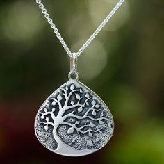 Unique Sterling Silver Pendant Necklace - Cacao Tree | NOVICA