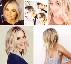 "First it was the adorable Ali Fedotowsky, then Sarah Michelle Geller and Kristin Cavallari and – just last week – Lauren Conrad and one of our favorite bloggers, Damsel in Dior, both jumped on the bandwagon, revealing gorgeous collarbone-length-or-shorter choppy manes! So many stunning stars are taking inches off their long, beachy locks and it has us questioning whether or not this playful new ""lob"" trend has some savvy stylist sense behind it! - bottom right picture. cut."