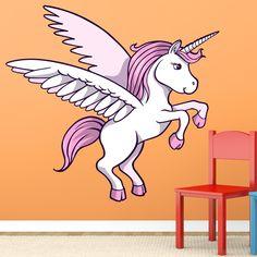 Original diseño de un unicornio con alas en tonos blancos y rosas. Perfecto para decorar cualquier pared.