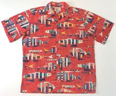 797471c29 Alfred Shaheen by Reyn Spooner Hawaiian Shirt Reverse Fish Print Mens XL