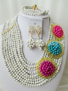 Gorgeous White and mixed Turquoise Necklace Nigerian Wedding African Beads Costume Jewelry Set 2014 New Free Shipping TC031 $68.93