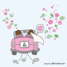 Just married cartoon illustration Free Vector Just Married Car, Newly Married, Wedding Illustration, Cute Illustration, Angry Cartoon Face, Wedding Pics, Wedding Cards, Photobooth Layout, Couple Silhouette