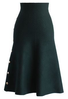 Studs Waffle Knit Midi Skirt in Dark Green - New Arrivals - Retro, Indie and Unique Fashion