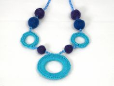 Multi-Ringed Blue Necklace by Golden Heart Crafts Golden Heart, Heart Crafts, Blue Necklace, Blue Rings, Crochet Necklace, Necklaces, Jewelry, Fashion, Moda
