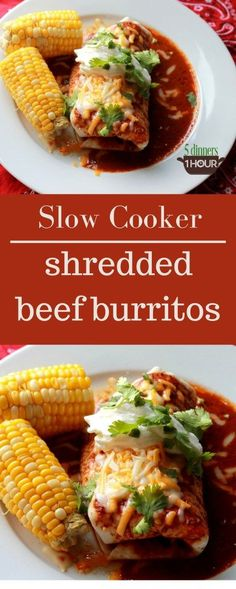 Slow Cooker Beef Burritos. THESE ARE SO GOOD! Better than restaurant! Can't wait to make again. | http://5dinners1hour.com