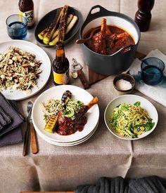 Australian Gourmet Traveller recipe for braised lamb shanks, burnt leeks and zucchini salad from Three Blue Ducks restaurant in NSW.