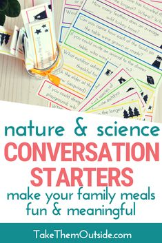 Grab these printable conversation cards for kids and families. They're perfect for sparking some fun and meaningful dinner table talk. These are especially entertaining to do when the grandparents are visiting over the holidays! Conversation Starters For Kids, Conversation Cards, Nature Activities, Educational Activities, Environmental Science Projects, Virtual Families, Teen Words, Rock Family, Lessons For Kids