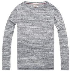 Klassischer melierter Hilfiger Denim Baumwoll Sweater mit Rundhalsausschnitt und geradem Schnitt. Das Logostitching befindet sich auf dem Ärmel.100% Baumwolle...