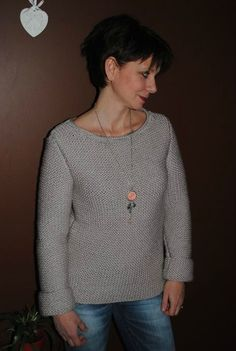 Tuto pull gris point mousse Pull Gris, Point Mousse, Pullover, Knitting, Long Sleeve, Sweaters, Mens Tops, Points, Women