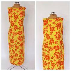 Vintage 1970s Yellow Orange Floral Hawaiian Maxi Tiki Dress Hukilau Fashions Cotton Summer Sun Dress Beach Hipster Long Dress 60s 70s