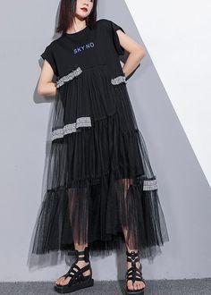 Unique o neck patchwork tulle cotton dress black Art Dresses summer – SooLinen Long Summer Dresses, Short Sleeve Dresses, Short Tulle Dress, Linen Dresses, Cotton Dresses, Black Art, Patchwork Dress, Look Fashion, Dress Patterns