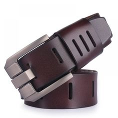 Brown X-CESSOIRE Mens Embossed Bonded Leather Belt with Stitch Detail