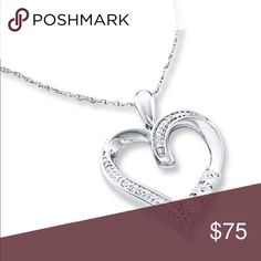 """DIAMOND HEART NECKLACE ⭐️ (1 LEFT)  This is a beautiful Sterling silver heart with round diamonds. It has an 18""""L chain with a spring ring clasp. Zales Jewelry Necklaces"""