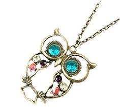 Owl Pendant Art deco Jewelry vintage Necklace Retro Long Necklace Owl Jewelry #Liroyal