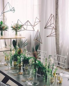 """Fun #geometric + modern #tablescape   photo @echardphoto, event design + planning + styling @michelleamarillo, floral design @studioposy, dress…"""