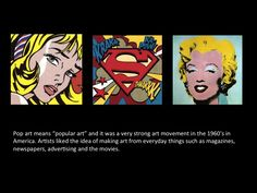 good little summary of Pop art for young kids