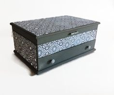 Medium Painted Gray Jewelry Box Gray And by LetaPearlEmporium