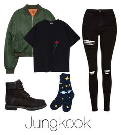 """""""Lazy day with Jungkook"""" by infires-jhope on Polyvore featuring Timberland and Topshop"""