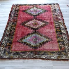 "Traditional Antique Rug, 56.7'' x 65.3"" Vintage Kilim, Handwoven Wool Area Rug"