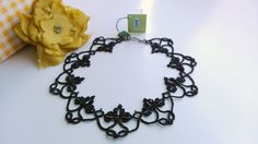 Necklace, Tatting, Frivolite, Jewelry Lace, Delicate, Black Statement, Collar, Lightweight, Elegant, Gift for her, Beaded, Lux, Royal by MonarchJewelryNo1 on Etsy